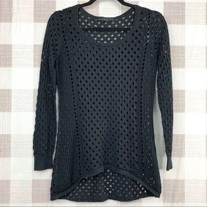 🔑 Rock & Republic Metallic Black Sweater Sz M